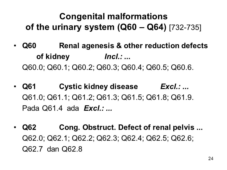 Congenital malformations of the urinary system (Q60 – Q64) [732-735]